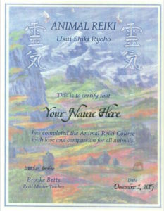 online Animal Reiki course training certificate