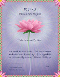 the Reiki II certificate you will receive