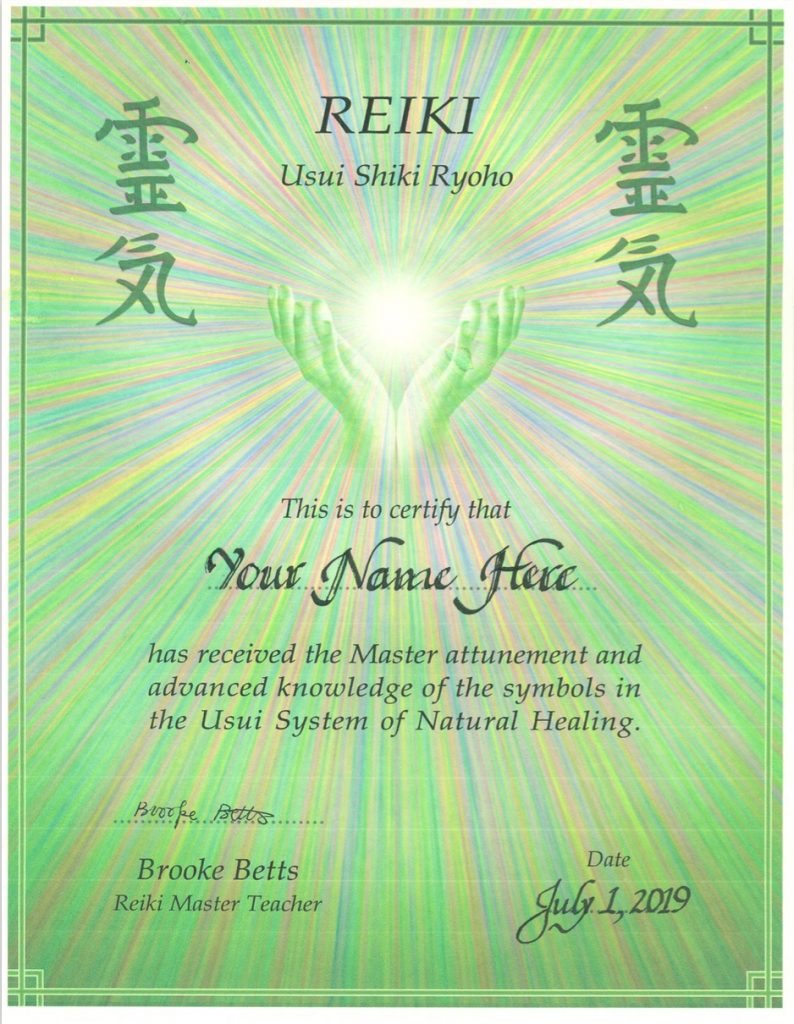 Sample Reiki Master Certificate